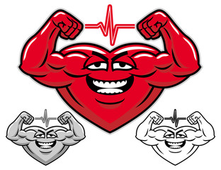 Strong heart cartoon character