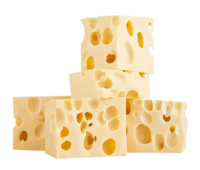 The perfect pieces of swiss cheese isolated on white background