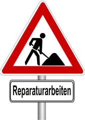 Schild Reparaturarbeiten