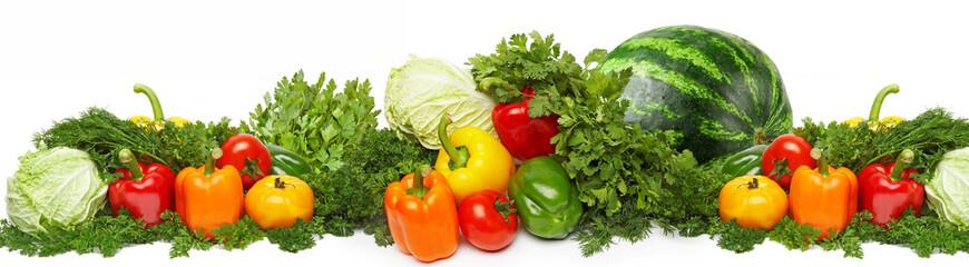 Different fresh tasty vegetables isolated on white.