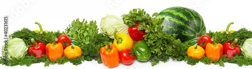Different fresh tasty vegetables isolated on white.
