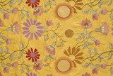 Vintage fabric background with the embroidered flowers