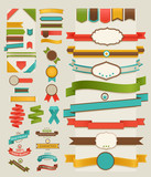 Fototapety Set of retro ribbons and labels
