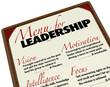 Menu for Leadership Qualities Desirable in Manager Leader