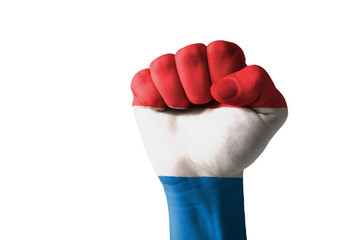 Fist painted in colors of holland flag