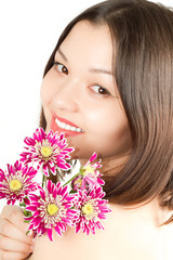 close up of  kazakh  beautiful woman with flowers
