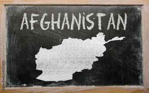 outline map of afghanistan on blackboard