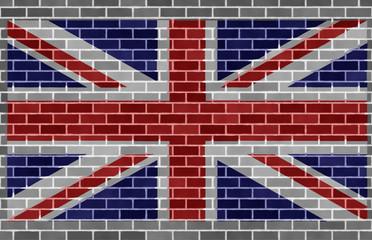 Flag of great britain on gray brickswall