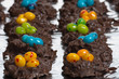 Two rows of candy bird nests