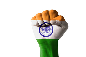 Fist painted in colors of india flag