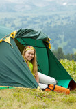 tourist in camp tent