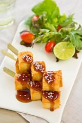 Barbecue Tofu with salad