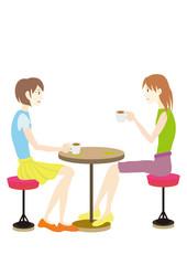 talking wemen at cafe カフェでお茶をする女性達