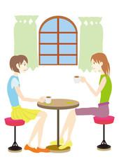 tea time お茶をする二人