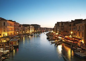 Grand Canal after sunset. Venice - Italy
