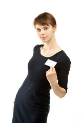 Attractive young woman showing blank badge