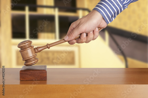 Judge wooden gavel on  background