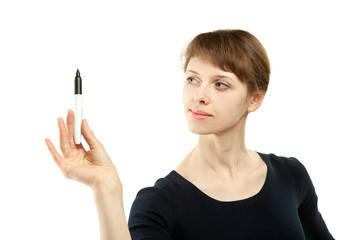 Attractive young woman holding marker, copy space