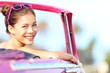 Car woman happy in vintage car