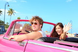 Fototapety Couple happy in vintage retro car