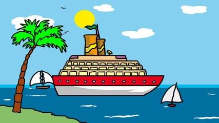 nave da crociera sul mare dei tropici, animazione