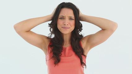 Woman panicking about something