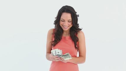 Woman counts her money