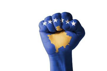Fist painted in colors of kosovo flag
