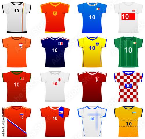 trikot set europa, 16 länder