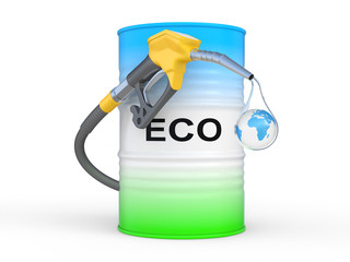 barrel with ECO fuel and gas pump nozzle