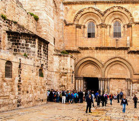 Main entrance to the Church of the Holy Sepulchre in Jerusalem