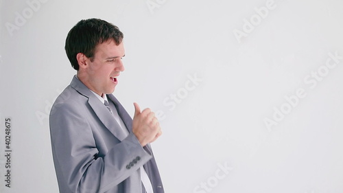 Happy businessman dancing