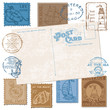 Postcard with Retro SEA Stamps - High Quality -  for design and
