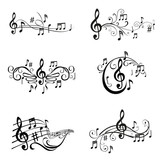 Fototapety Set of Musical Notes Illustration - in vector