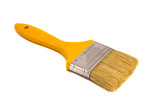 Brush 75mm wide yellow shaft paint isolated poster