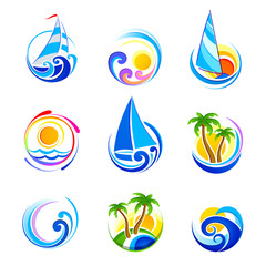 Сollection of sea icons and summer vacation