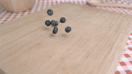 Blueberry falling in super slow motion