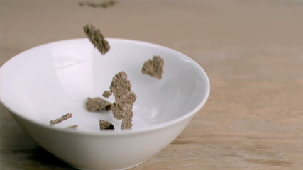 Cereals falling into super slow motion