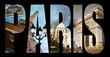 Lettres PARIS, fond collage photo