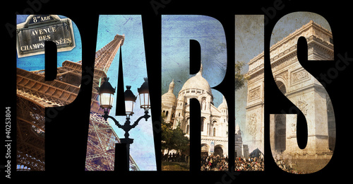 Lettres PARIS, fond collage photo