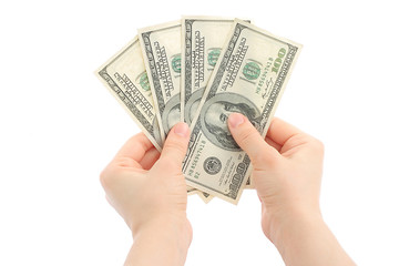 Woman hands with money on white background