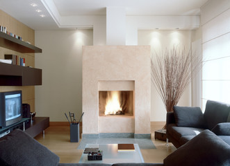 camino in moderno soggiorno con divano grigio