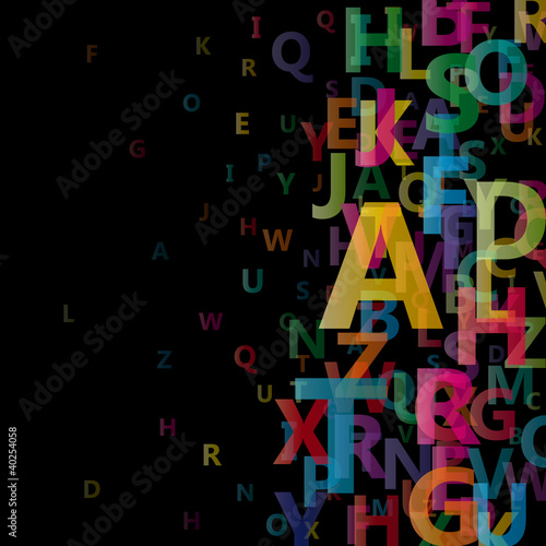 Abstract Alphabet on black background # Vector