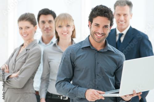 Leinwanddruck Bild Business data and technology