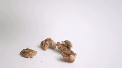 Walnut falling in super slow motion