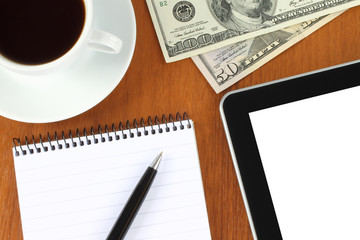 Touch screen device, notepad, pen, money and cup of coffee