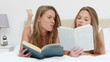 Peaceful women reading books together