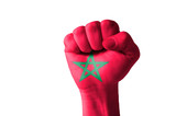 Fist painted in colors of morocco flag