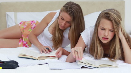 Serious friends doing their homework together