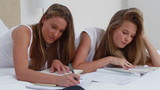 Happy young woman doing her homework with a friend